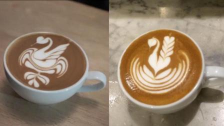 2种好看的天鹅图案拉花教程, 想学咖啡拉花的不要错过哟, 学起来