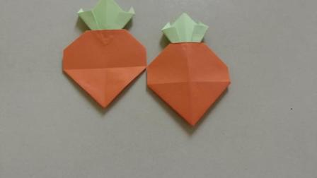 手工折纸视频, 简单好看的大萝卜