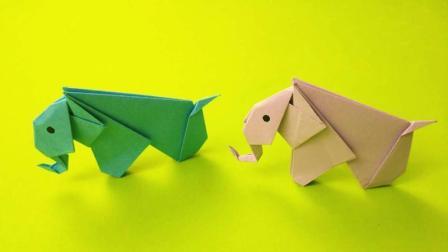 教你用纸折出可爱的小象, 折法简单幼儿园小朋友也会做, 折纸视频