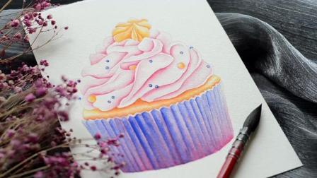 小迪Dee水彩 杯子蛋糕手绘教程