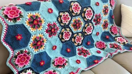 【金贝贝手工坊207辑】M138弗里达花样毯子(一)毛线钩针编织空调毯盖毯宝宝毛毯毛线编织简单方法