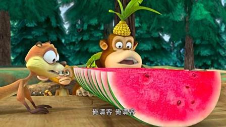 丛林的动物们, 竟然用光头强的锯子切西瓜