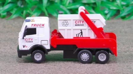 垃圾车玩具视频: 垃圾运输车工作合金汽车工程车定格动画