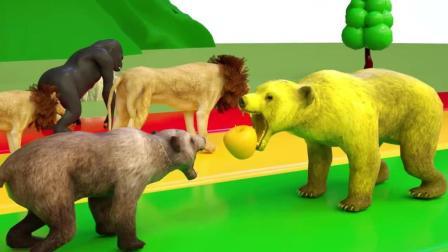 益智: 颜色启蒙, 老虎狗熊狮子等动物在户外比赛吃水果接力变颜色