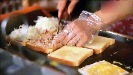 韩国街头的烤吐司芝士鸡蛋火腿三明治, 好实在!