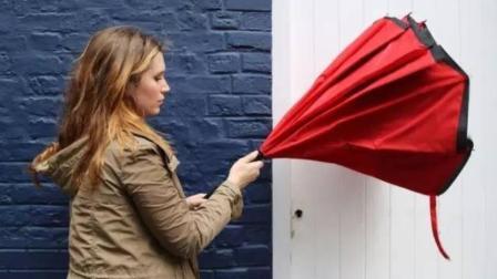 61岁老外发明另类雨伞, 7级大风都刮不坏, 花瓣式开合!
