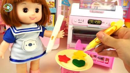 用橡皮泥学做彩色五星和心形饼干