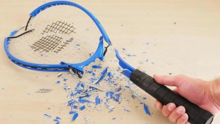 网球拍就这样碎掉了, 这液体是什么玩意呀, 威力真大