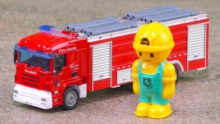 消防车玩具视频: 消防车出警DIY组装工作表演定格动画