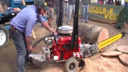 超强悍的V8电锯伐木机械, 伐木切断一气呵成