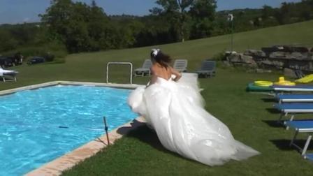为了拍个漂亮的婚纱照, 新娘也真是够拼的!