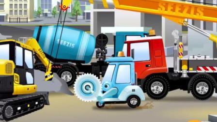 汽车总动员: 水泥搅拌车工作走心被水泥凝住了, 汽车城交通大堵塞