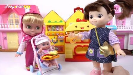 妈妈去小企鹅pororo的餐厅给宝宝买好吃的汉堡!