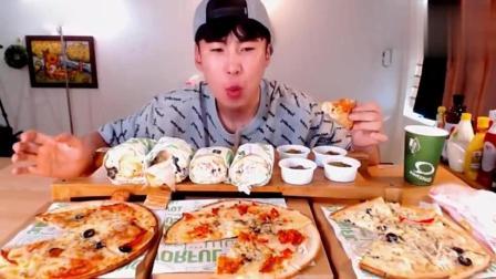 吃播美食: 韩国donkey哥哥吃三个披萨、炸鸡奶油培根汉堡