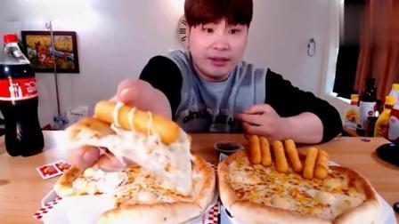 吃播美食: 韩国大胃王donkey弟弟, 吃芝士披萨和炸香肠