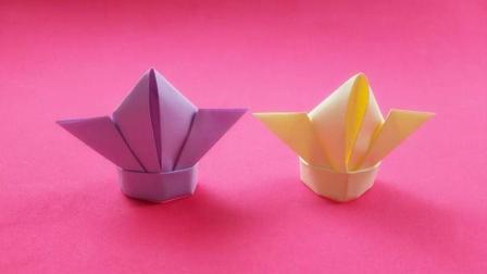 幼儿园小朋友最喜欢的皇冠, 简单几步就能折出来, 折纸视频教程