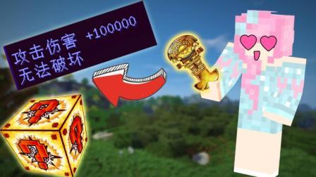 小橙子姐姐我的世界古老的幸运方块: 一刀100000伤害却伤害不了他