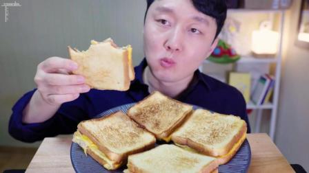 韩国吃播: 咀嚼音 ASMR火腿芝士吐司 , 满满的幸福感