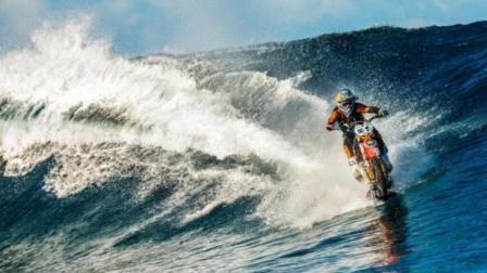 这辆摩托车能在海上冲浪, 跑24公里没沉下水一次!