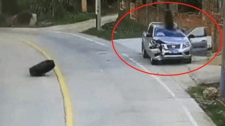 大货车突然爆胎 两个轮胎双双砸向路边车辆 司机一脸懵