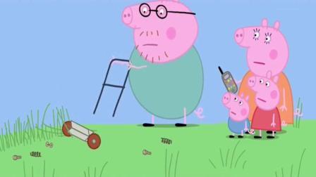 小猪佩奇: 动画片 爸爸的割草机坏了, 打电话给爷爷请求帮助