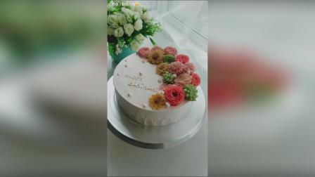 #美食##蛋糕#豆沙裱花, 小清新花朵蛋糕