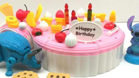 玩具乐园恐龙世界 三角龙和史迪奇一起过生日