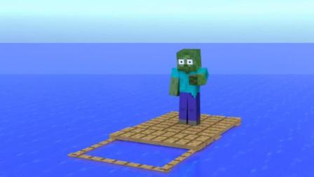 我的世界: 怪物学院挑战木筏游戏 小白在海上建立了王国