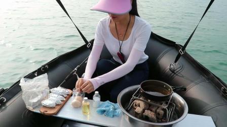 开船和小姐姐在第三大人工湖泊钓鱼, 小姐姐居然在船上烧烤鸡翅!