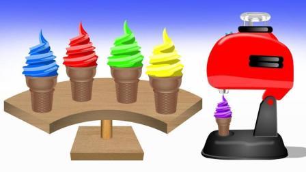 玩具搅拌机制作美味彩色冰淇淋甜筒