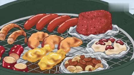蜡笔小新: 今天和爸爸一起户外烧烤, 有章鱼和龙虾吃