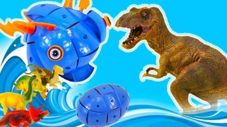 大恐龙玩磁力奇趣蛋玩具组装机械鱼