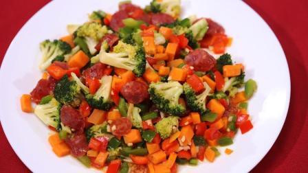 4个步骤教你做西兰花炒腊肠, 这么做下饭又营养, 最适合夏天吃!
