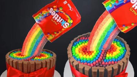 太神奇了! 这个彩虹糖一倒就出一大片彩虹, 这个蛋糕创意我给满分