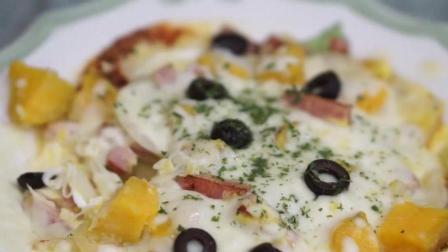 用红薯, 鸡蛋, 洋葱, 火腿做的披萨, 不一样的美味享受