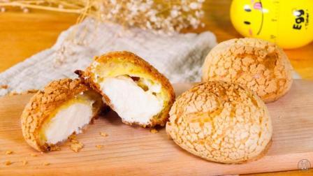 泡芙的家常做法, 酥酥脆脆的外表, 配合甜甜的鲜奶油, 不比买的差!