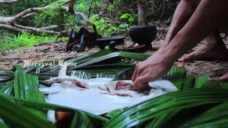 澳洲小哥  荒野求生 野外生存 原始技术在森林中烹饪食物