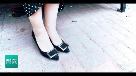 雪纺长袖OL衬衫波点裙搭黑色细跟尖头高跟鞋#穿秀##高跟鞋#