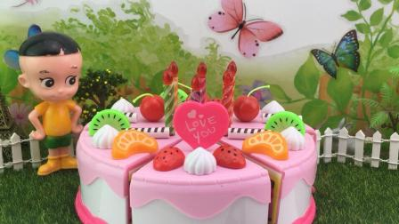 快乐宝贝大头儿子玩具 大头儿子过家家分享水果蛋糕