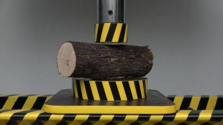 当木头遇到液压机会怎样? 它能挡住液压机的碾压吗? 一起来见识下!
