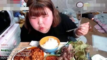 韩国胖妞吃播, 这样吃不胖才怪呢!