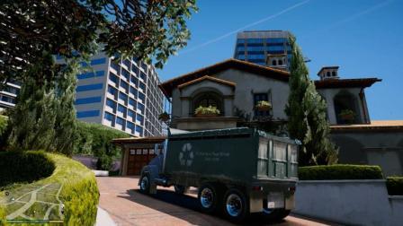 GTA5 老崔用皮卡车换一辆垃圾车, 最后开去送给老麦