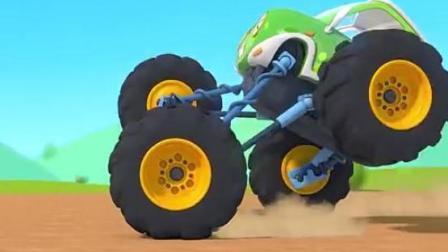 迪士尼启蒙音乐剧 大脚怪兽车比赛急刹车撞在一起 汽修师奇奇紧急修理