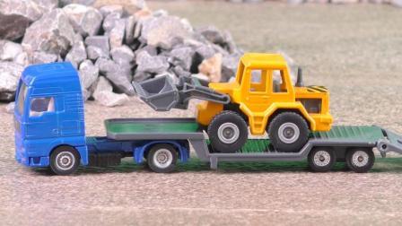 挖掘机推土机拖运车平板拖车工程车合金汽车玩具工作表演