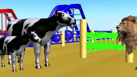 益智: 婴幼儿启蒙, 大象马儿等动物带着宝宝在游乐场玩耍学颜色