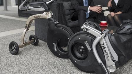 老外造的折叠自行车, 倒着才能骑, 回头率超高!