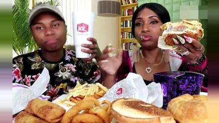 黑人大妈带儿子直播, 吃汉堡包、鸡肉三文鱼、洋葱圈、薯条
