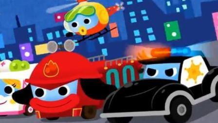 汽车城的工程车动画 淘气赛车在公路狂飙 火车特洛伊和警车联合追捕