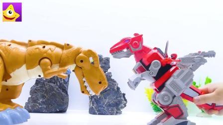 邪恶魔法师把小动物变成独角巨人和巨龙, 恐龙战队去拯救小动物们