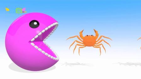 少儿益智动画: 吃豆人吃螃蟹学颜色